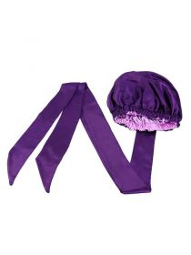 Satin Lined Bonnet With Long Ribbon Wrap Double Layer Headwrap BN006