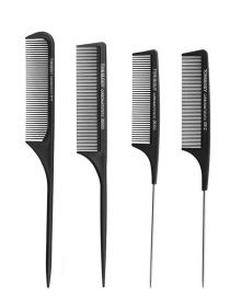 Tail Comb Fiber Teasing Combs Plastic Tail Comb Stainless Steel Pintail Comb BR025