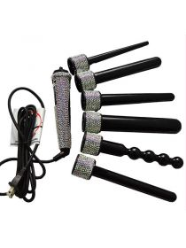 6 IN 1 Crystal Hair Curling Iron Diamond Hair Curler Wand Set Rhinestone Hair Curler BR041