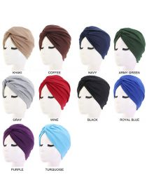 Women Turban Hats Twist-Knot Beanie Headwrap Pre-Tied Cap Solid Color Head Bonnet FHB002