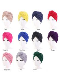 Solid Color Headwrap Pre-Tied Bonnet Turban Knot Beanie Cap Headwrap Hat FHB003
