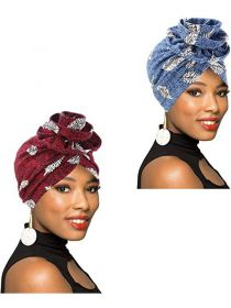 Women Turban African Pattern Headwrap Beanie with Knotted Flower Chemo Cap FHB007