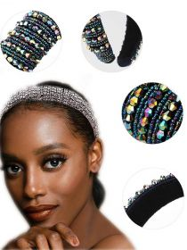 Rhinestone Crystal Diamond Headband for Women Fashion Handmade Wide Hair Hoops FHB018