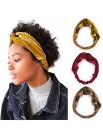 Velvet Fabric Elastic Headband Hair Band Wrap Cross Hair Band FHB014