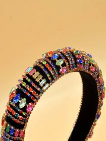 Rhinestone Crystal Diamond Headband for Women Fashion Handmade Wide Hair Hoops FHB020
