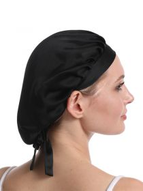 Silk Sleep Cap for Women Traceless Half Black Elastic Silk 19 Momme Mulberry Silk Bonnets SK003